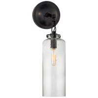 Katie Small Cylinder Sconce in Bronze with Seeded Glass
