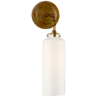 Katie Small Cylinder Sconce in Hand-Rubbed Antique Brass with White Glass