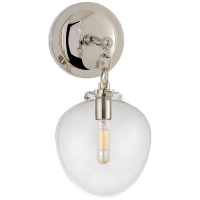 Katie Small Acorn Sconce in Polished Nickel with Clear Glass