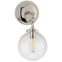 Katie Small Globe Sconce in Polished Nickel with Clear Glass