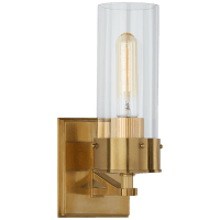 Marais Medium Bath Sconce in Hand-Rubbed Antique Brass with Clear Glass