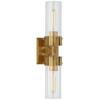 Marais Large Double Bath Sconce in Hand-Rubbed Antique Brass with Clear Glass