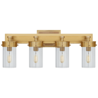 Marais Four-Light Bath Sconce in Hand-Rubbed Antique Brass with Clear Glass