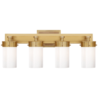Marais Four-Light Bath Sconce in Hand-Rubbed Antique Brass with White Glass