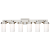 Marais Six-Light Bath Sconce in Polished Nickel with White Glass