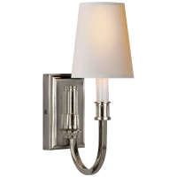 Modern Library Sconce in Polished Nickel with Natural Paper Shade