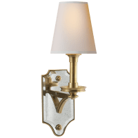 Verona Mirrored Sconce in Hand-Rubbed Antique Brass with Natural Paper Shade