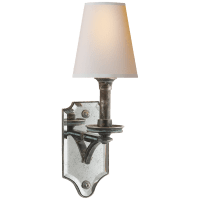 Verona Mirrored Sconce in Sheffield Nickel with Natural Paper Shade