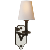 Verona Mirrored Sconce in Weathered Iron with Natural Paper Shade