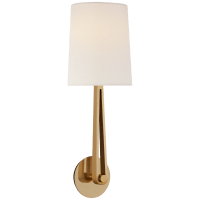 Alpha Large Convertible Sconce in Hand-Rubbed Antique Brass with Linen Shade