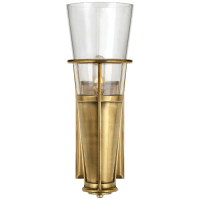 Robinson Single Sconce in Hand-Rubbed Antique Brass with Clear Glass