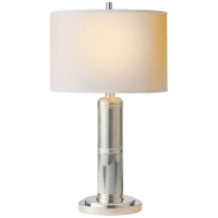 Longacre Small Table Lamp in Polished Nickel with Natural Paper Shade
