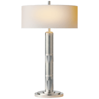 Longacre Tall Table Lamp in Polished Nickel with Natural Paper Shade