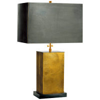 Dixon Small Table Lamp in Hand-Rubbed Antique Brass with Bronze with Bronze Shade