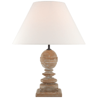Piaf Medium Table Lamp in Blonde Cerused Oak with Linen Shade