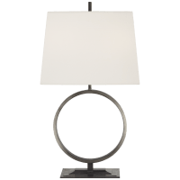 Simone Medium Table Lamp in Bronze with Linen Shade