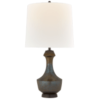 Mauro Large Table Lamp in Crystal Bronze with Linen Shade