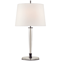 Lyra Large Table Lamp in Bronze and Crystal with Linen Shade