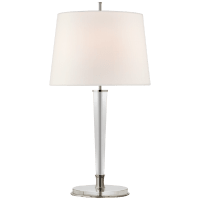Lyra Large Table Lamp in Polished Nickel and Crystal with Linen Shade