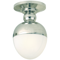 Clark Flush Mount in Polished Nickel with White Glass
