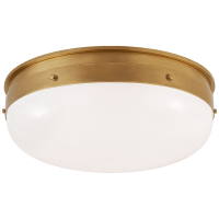 Hicks Medium Flush Mount in Hand-Rubbed Antique Brass with White Glass
