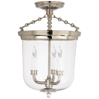 Merchant Semi-Flush in Polished Nickel with Clear Glass