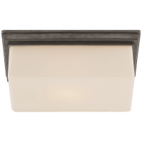 Newhouse Block Wall/Ceiling Light in Bronze with White Glass