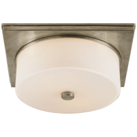 Newhouse Circular Flush Mount in Antique Nickel with White Glass