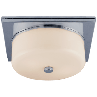 Newhouse Circular Flush Mount in Polished Nickel with White Glass