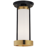 Calix Tall Flush in Bronze and Brass with White Glass
