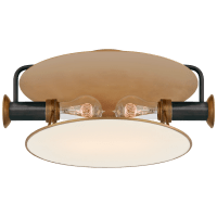 Osiris Medium Flush Mount in Bronze and Hand-Rubbed Antique Brass with Linen Diffuser