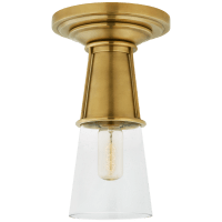 Robinson Small Flush in Hand-Rubbed Antique Brass with Seeded Glass