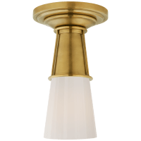 Robinson Small Flush in Hand-Rubbed Antique Brass with White Glass