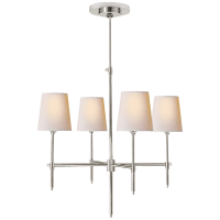 Bryant Small Chandelier in Polished Nickel with Natural Paper Shades