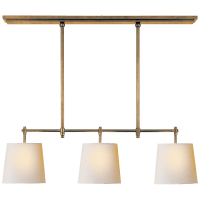 Bryant Small Billiard in Hand-Rubbed Antique Brass with Natural Paper Shades