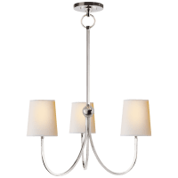 Reed Small Chandelier in Polished Nickel with Natural Paper Shades