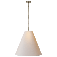 Goodman Large Hanging Lamp in Antique Nickel with Natural Paper Shade