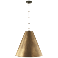 Goodman Large Hanging Lamp in Bronze and Hand-Rubbed Antique Brass with Hand-Rubbed Antique Brass Shade