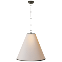 Goodman Large Hanging Lamp in Bronze with Natural Paper Shade with Black Tape