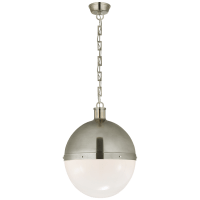Hicks Extra Large Pendant in Antique Nickel with White Glass