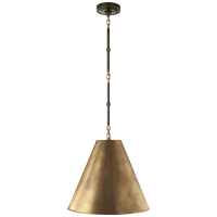Goodman Small Hanging Light in Bronze and Hand-Rubbed Antique Brass with Hand-Rubbed Antique Brass Shade