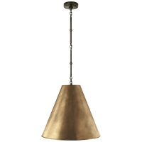 Goodman Medium Hanging Light in Bronze with Hand-Rubbed Antique Brass Shade