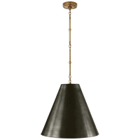 Goodman Medium Hanging Light in Hand-Rubbed Antique Brass with Bronze Shade