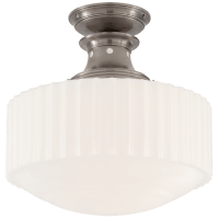 Milton Road Flush Mount in Antique Nickel with White Glass