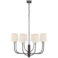 Hulton Large Chandelier in Bronze and Hand-Rubbed Antique Brass with Linen Shades