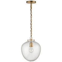 Katie Acorn Pendant in Hand-Rubbed Antique Brass with Seeded Glass