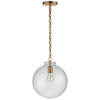 Katie Globe Pendant in Hand-Rubbed Antique Brass with Seeded Glass