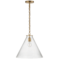 Katie Conical Pendant in Hand-Rubbed Antique Brass with Seeded Glass