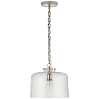 Katie Dome Pendant in Polished Nickel with Clear Glass