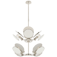 Osiris Medium Reflector Chandelier in Polished Nickel with Linen Diffusers